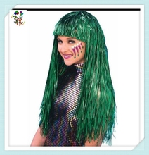 Cheap Wholesale Carnival Party Unisex Long Green Tinsel Wigs HPC-1322