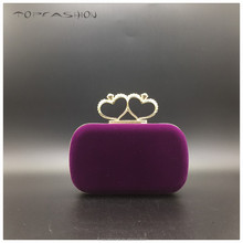 2015 Elegent ochid velvet handbag and double heart kiss crystal closure clutch bag