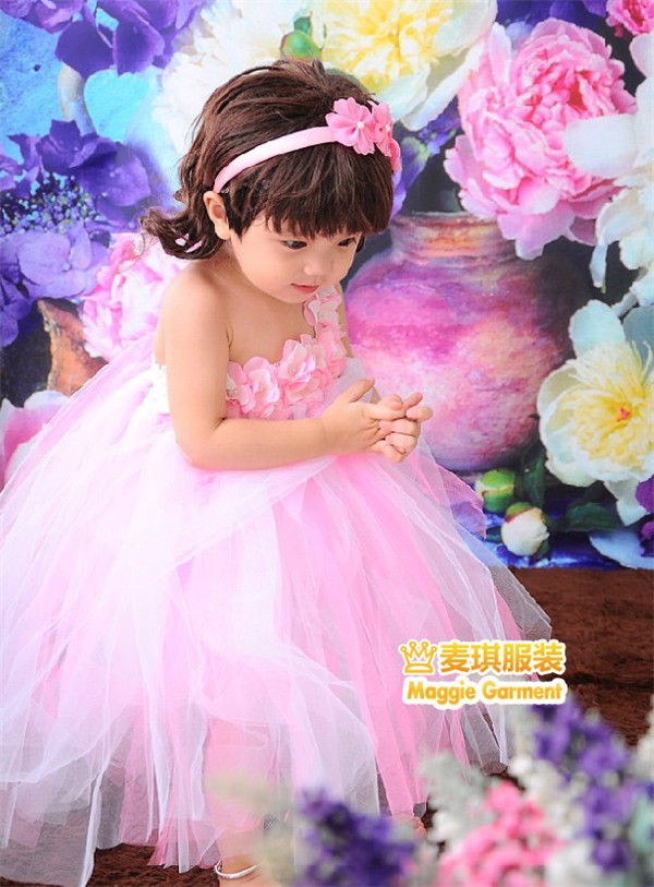 b4beb02e6 Pink fluffy dress toddler birthday wedding party child bridesmaid for baby  girls tutu fantasias infantis 1-2 years old 90767