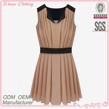 Ladies' chiffon pleats slim fit casual high quality direct manufacturer pink princess prom dresses