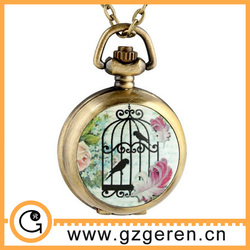 Alibaba Wholesale Watch Case Interchangeable Pocket Watch Antique Hanging round Bird Cages