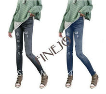New Women Fashion Leggings Stretch Skinny Tights Pencil Pants Casual Large Grinding Holes Printing Jeans 7930