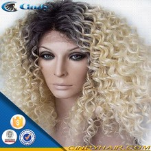 2015 top selling African American lace front wigs ombre malaysian virgin hair afro kinky human hair wig