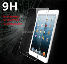 Premium quality 9H hardness Tempered Glass screen protector for iPad mini /mini 3 scratchproof protective tablet film
