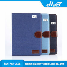 Jeans style wallet leather case for ipad mini with card slots