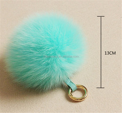 lovely High Quality fur keyring fox fur ball keychain for cell phone