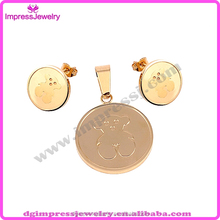 IJT0074 Impress Jewelry manufacturers cheap wholesale gold bear stainless steel jewelry set