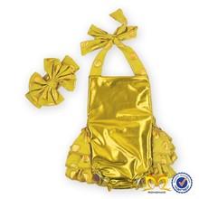 Luxury Kids Gold Color Soft Baby Cotton Romper Infant Toddler Boutique Jumpsuit For 0-3T Factory Wholesale