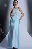 Celebrity Inspired Light Sky Blue Wedding Bridal Dress