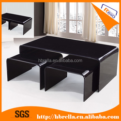 Wholesale modern Fashion bent tempered black or clear glass coffee table