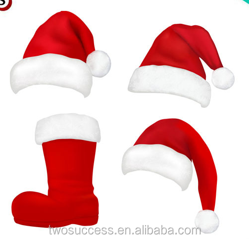 Red and White Deluxe Father Christmas Cap Party Santa Claus Hats .png