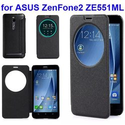 With Circle View Window Frosted Pattern Flip Leather Case for ASUS ZenFone 2 ZE551ML Cover