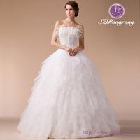 HM96833 Feather & Applique Corset Bodice Tailored Wedding Dresses China