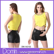 2015 high quality, new arrival beaded neckline design Crop Top For Women