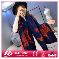 Factory Price Fashion Large Size Warm Butterfly Jacquard Stole Ladies Scarves Pashmina Shawl