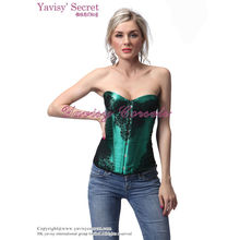 wholesale manufactory black lace up sexy green corset and sexy bustier corset garter
