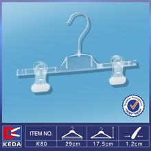 Top sale bright clear plastic pants hanger with bottom clips K80