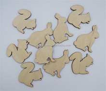 Hot sell Rabbits and Squirrels Unfinished Laser Cut Wooden Shapes made in China