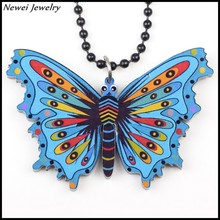 Newei 2015 Fashion Jewelry Printing Animal Shaped Pendant Girl Women Accessories Acrylic Butterfly Necklace