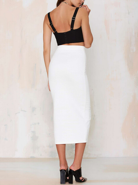 knit ribbed wholesale white pencil skirt with slit