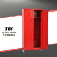 IGO Elegant knocked down steel 2 door cheap wardrobe combination wardrobe and bed