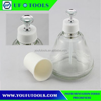 Anti-static 180ml glass alcohol bottles pressed metal pump bottle makeup special transparent alcohol bottles