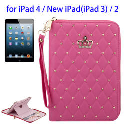 2015 Hot Selling Zipper Style PU Mobile Phone Case for iPad 4 for Wholesale
