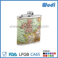 hip flasK with leather coat ,leather wrapped hip flask HF314