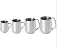 stainless steel double walled beer/coffee/tea cup with handle for kitchen utensils