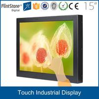 FlintStone 15 inch 2 points touch screen cctv survillance lcd display monitor
