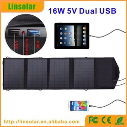 Flexibility Foldable Dual USB output 16W Dual USB Output Solar Panel Charger Solar Rechargeable bag for outdoor usage