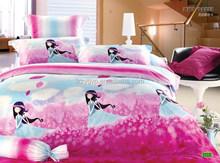 Beautiful Children Bedding Set 3pcs, Quilt Cover, Bed Sheet, Pillow Case, Cartoon Design Bird, Reactive Print