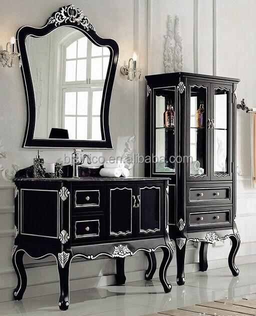 Vintage wood carved bathroom vanity with double sinks - Old fashioned bathroom furniture ...