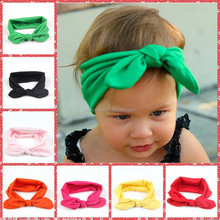 yiwu hot sale 8 color optional children/kids spandex headband wholesale baby rabbit ears headdress,baby headband