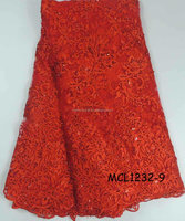 2015 wholesale bridal african french lace fabric/red african french net lace with beads embroidery MCL1232-9