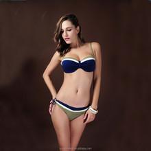 HD-Feeling Multicolor splicing Paragraph flat-chested bikini micro swimwear