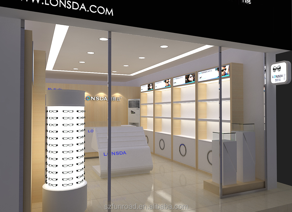 Latest Decoration Designs For Optical Shop Display Showcase With Led ...