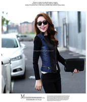 ladies denim jacket leather sleeves new design women blue wahed denim jacket with zipple new 2015