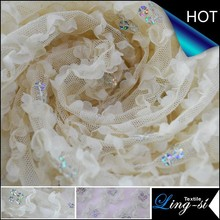 Tape and Sequins Embroidery on Mesh Fabric for Wedding Dress