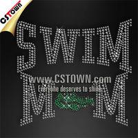 Swim mom iron on bling custom rhinestone transfer