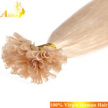 Cheap #613 white blonde 100 remy human hair u tip hair extension wholesale 8-30inch 0.5g-1g/strand
