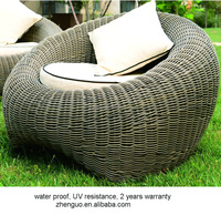2015 elegant weaved comfortable round outdoor rattan sofa