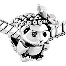S632 Hedgehog Rose Pink Zircon Flower Animal S925 Sterling Silver Beads Charm