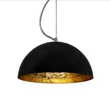 Vintage gold pattern large restaurant pendant lamp black frosted iron shade pendant lamp