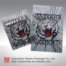 White tiger 3g 10g aluminum foil herbal incense ziplock bag