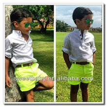Boys Clothing Sets White T Shirt & Green Shorts Child Clothes 6sets/lot LT67012