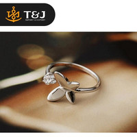 >>2015 fashion 925 sterling silver ring butterfly high quality crystal open design romantic rings-