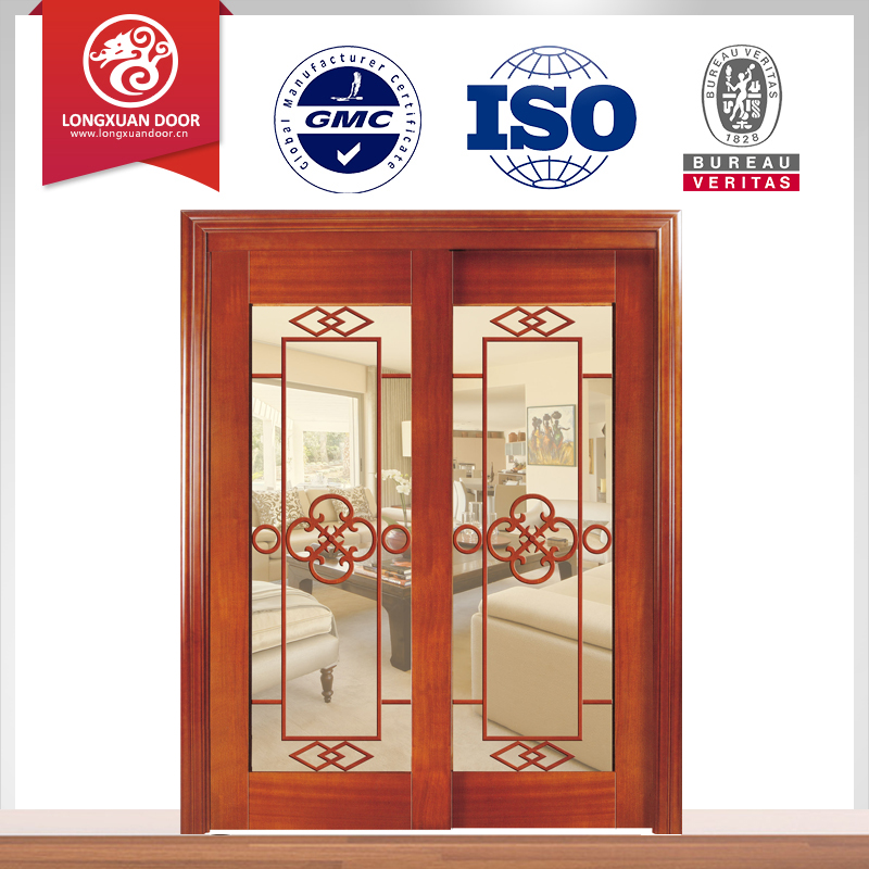 Wood Sliding Door Glass Design Double Glass Design Wood Sliding Door
