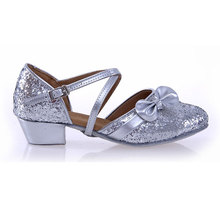 wholesale The Silver Princess bow Latin shoes women's adult golden sequins dance shoes