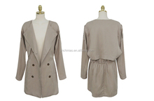 women's grey long sleeve double breasted poly lining dust coat with two tabs on shoulders